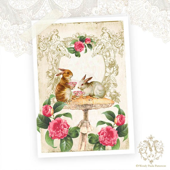 bunny tea party card by Mulberry Muse